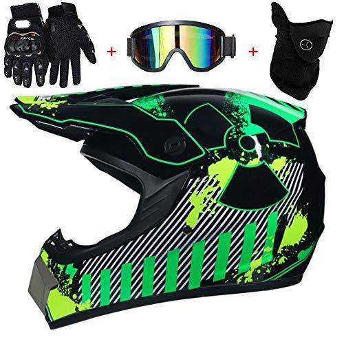 TKUI Motorradhelm, Outdoor-Jugend-Kinder-Dirt-Fahrradhelme, Full Face Motocross-Offroad-Helm Four Seasons Universal (Handschuhe, Brille, Maske, 4-teiliges Set),S(52~53cm)