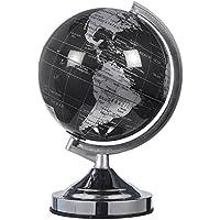 Mundo Globo–(negro y plata mundo político–Spinning mundo de sobremesa con soporte giratorio y–gran regalo educativo para niños, adultos, maestros