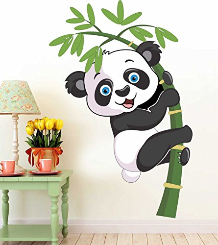 Paper Plane Design Baby Panda Removable Decor Environmentally Mural Wall Stickers Decal...