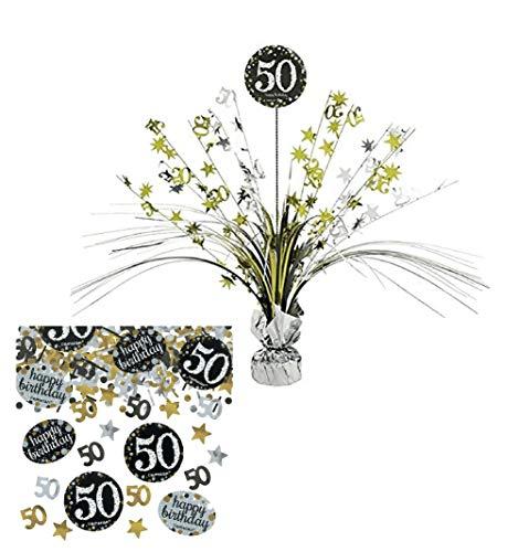 Feste Feiern Tischdekoration 50. Geburtstag | 2 Teile Tischaufsatz Tischaufsteller Kaskade Konfetti Gold Schwarz Silber metallic Party Deko Set Happy Birthday 50 (50. Geburtstag Tischdekoration)
