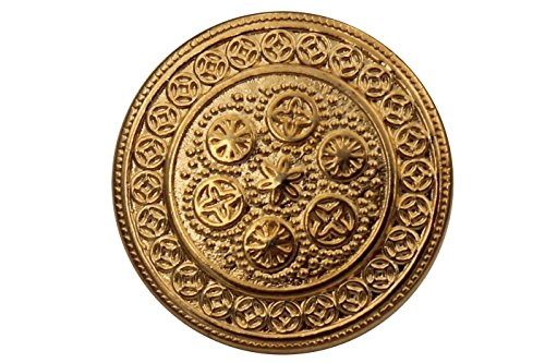 6 Stück, hübsche, gold Metall Ösen Knöpfe, mit filigranem Muster, flach, made in Germany, Größen 14mm oder 18mm (14mm) -