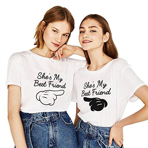 Best Friends Sister Tshirt für Zwei Damen Mädchen 2 Stücke Freundin BFF Freunde T-Shirt Freundschaft Kurzarm Sommer Tops Baumwolle(Weiß,Weiß-Finger-XS+Schwarz-Finger-XS)