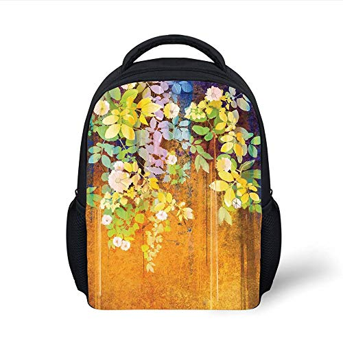 Kids School Backpack Watercolor Flower,Soft Colored Spring Flowers and Leaves on Misty Retro Background Nature Art,Multi Plain Bookbag Travel Daypack Misty Leaf