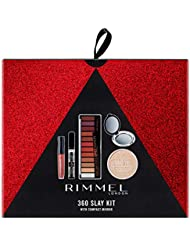 Rimmel 360 Slay Christmas Gift Set, includes Magnif'eyes Spice Palette, Stay Matte Pressed Powder, Extra Super Lash Mascara, Stay Matte Liquid Lip and Compact Mirror