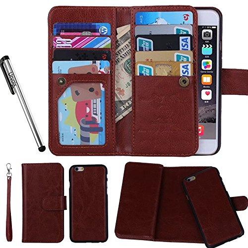 Urvoix Hülle / Brieftasche für Apple iPhone 6 / 6s 11,9cm (4,7Zoll), Leder, 2-in-1-Klapphülle mit Kartenfächern und abnehmbarer, magnetischer Hülle für das Smartphone Flip Cover - Brieftasche Speck Handy