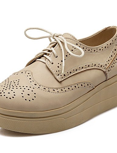 ZQ hug Scarpe Donna-Stringate-Casual / Formale-Comoda / Punta arrotondata-Plateau-Finta pelle-Marrone / Bianco / Beige / Borgogna , brown-us8 / eu39 / uk6 / cn39 , brown-us8 / eu39 / uk6 / cn39 beige-us5 / eu35 / uk3 / cn34