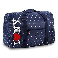 حقيبة من القماش الخشن بعبارة I Love New York من J World, , كحلي - NYCG-01 NAVY