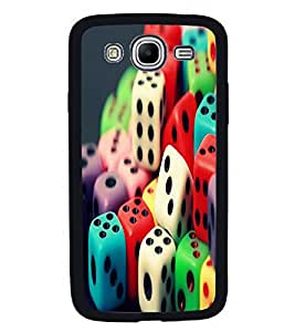Fuson Premium 2D Back Case Cover Colourful Dice With Yellow Background Degined For Samsung Galaxy Mega 5.8 i9150::Samsung Galaxy Mega 5.8 i9152