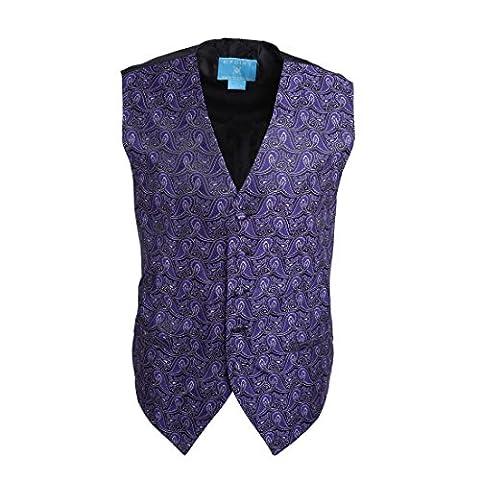 EGC1B08C-M Dark Violet Patterned Economics For Pretty Waistcoat Woven Microfiber Thank You Gift Idea Medium Vest By