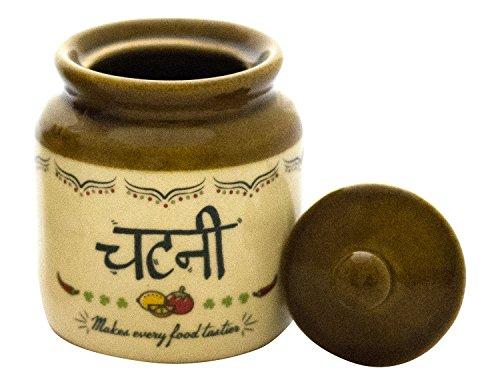 EKDODHAI Stoneware Chutney Jar, 300 ml, CHUT LOVE JAR
