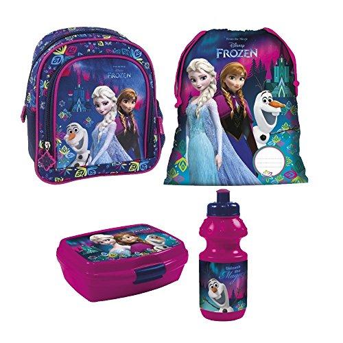 Frozen Eiskönigin Disney 4 Teile Set Rucksack Tasche Kindergarten Kindergartenrucksack mit Sticker von Kids4shop (Frozen Tasche Disney)
