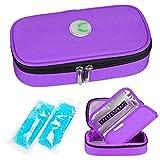 YOUSHARES Insulin kühltasche Reise Tasche - Medikamente Diabetiker Isoliert Tragbaren Kühler Tasche für Insulin Pen und Diabetes kühltasche mit 2 Kühlakkus (Lila) -