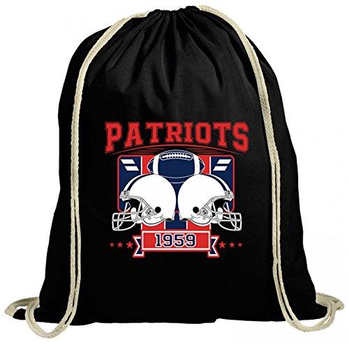 Patriot Premium Turnbeutel | American Football | Super Bowl | San Francisco | Gymbag, Farbe:Schwarz (Gymbeutel);Größe:37cm x 46 cm