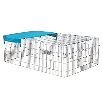 KCT Medium Enclosed Roof Folding Metal Pet Playpen Run for Dogs, Cats, Rabbits, Chickens and More by KCT