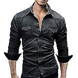 Camicie da Uomo Retro Camicia di Jeans Camicetta da Cowboy Slim Top Sottili Sottili,YanHoo Maglieria da Uomo,Pantaloni con Maglione Tute da Corsa da Sportivi da Uomo M/L/XL/XXL/XXXL
