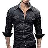 Herren Langarmshirts,Frashing Herrenhemden Retro Jeanshemd Cowboy Bluse Schlank Thin Long Tops Denim fit Hemd Shirt Herrenhemd Jeans angarmhemd Cowboy-Style Freizeit