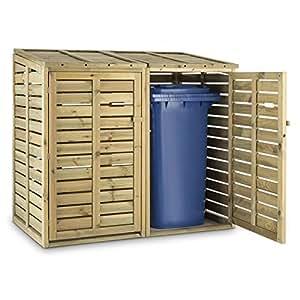 Waldbeck Cabane de Rangement • Poubelle • Abri pour Poubelle • pour 2 poubelles de 240 litres • Couvercles rabattables • Portes Avant • Ouverture à air comprimé • Bois de pin • Certifié FSC • Brun
