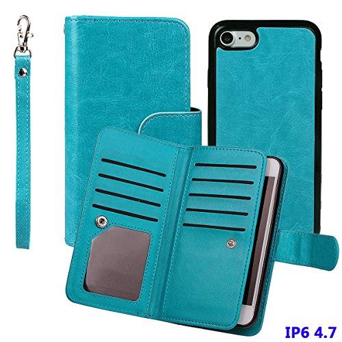 """iPhone 6 (4.7"""")Hülle wallet case,xhorizon TM FM8 2 in 1 Premium Leder [Brieftasche Funktion] [Magnetisch Abnehmbar] Wristlet Geldbörse Mehrfache Karten-Schlitze Abdeckung Folio Schutzhüller für iPhone Blau"""
