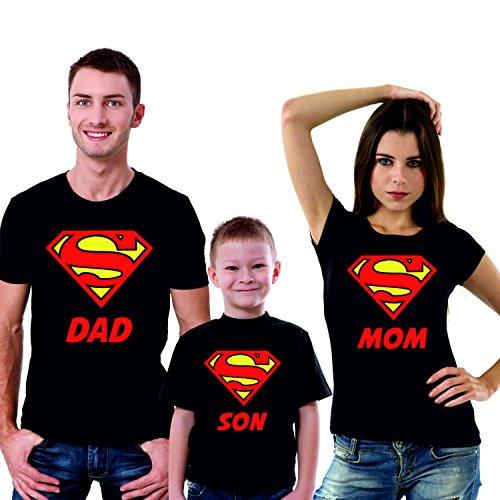 Puzzletee tris t-shirt famiglia padre, madre, figlio super dad, super mom, super son - festa del papa' - festa della mamma - magliette divertenti per tutta la famiglia - in cotone by