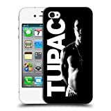 Offizielle Tupac Shakur Schwarz Weiss Kunst Ruckseite Hülle für Apple iPhone 4 / 4S