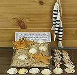 Fischernetz 1x2m beige, 2 Noppenseesterne, 20 Muscheln, 3 Fische am Band b/w gestreift