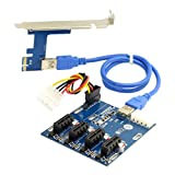 chenyang PCI-E Express 1X zu 4Port 1x Schalter Multiplier Splitter Hub Riser Karte mit USB 3.0Kabel