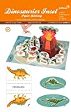 Dinosaurier Insel Bastelbogen 14 Figuren, 1 Vulkan ,8 extra Elemente - Pukcaka DIY Bastelbögen Papier-Karton für Kindergeburtstag als Geschenkidee, Bastelidee für Jungs
