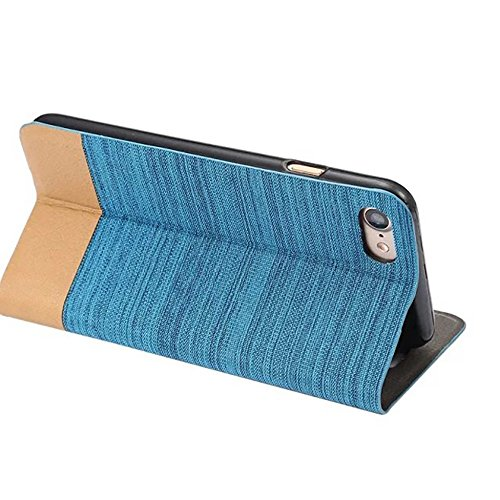 JIALUN-Telefon Fall Zweifarbige Stitching Card Slot Slotted Phone Case für IPhone 7 Plus ( Color : Rosegold ) Blue
