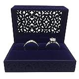 Gossipboy Caja de Regalo Hollow Sapphire Blue Wedding Ring / Terciopelo Ring Bearer Box / Jewelry Earring Gift
