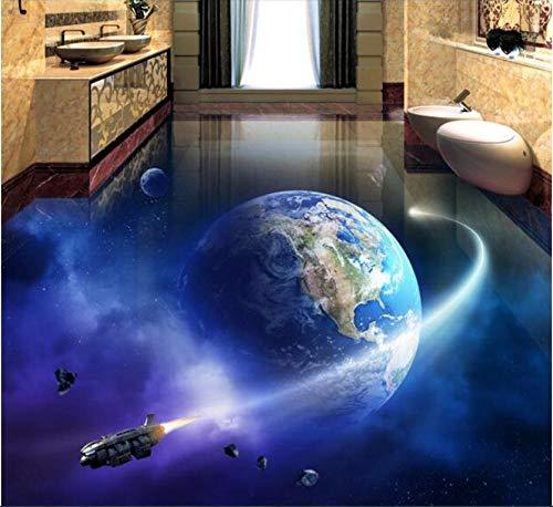 Individuelles Foto Wasserdichte Boden Wandaufkleber Bild Universum Erde Milchstraße Malerei 3D Wandbilder Tapete-350X250Cm ()