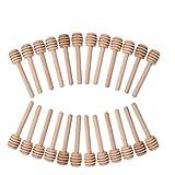 Biback 24pcs Mini-Plongeur de Miel, 3inch Bois bâtonnets de café Lait de thé bâtonnets pour Miel Pot Pots distribuer Le Miel