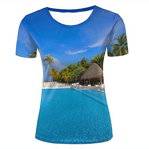 Women T-Shirt 3D Digital Pinted Exotic Resort Beach Kiosk Crewneck Casual  tee Shirt Tops XXL 74f839cb78