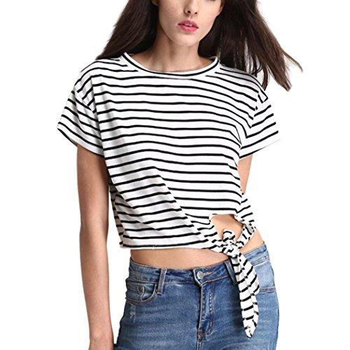 WOCACHI Damen Sommer T-Shirts Frauen loose Casual kurze Hülse O-Ansatz Schwarz gestreifte gedruckte T-Shirt Blusen Weiß Tops (S/34, (Weiß Und Schwarz Katze Kostüm Gestreifte)