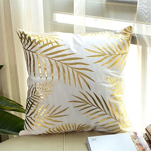GWELL Dekorativ Kissenbezug Gold Folie Druck Kissen Fall für Sofa Dekokissen Couchkissen 45*45cm viele Muster wählbar Muster-F