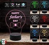 HAPPY FATHER'S DAY Regalo FESTA DEL PAPA' Lampada 7colori da scrivania Idea originale personalizzato