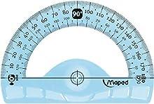 Maped Rapporteur Incassable Ergonomique et Résistant, repérage optimisé - Rapporteur 180°/ 12 cm - Coloris Aléatoire Vert ou Bleu