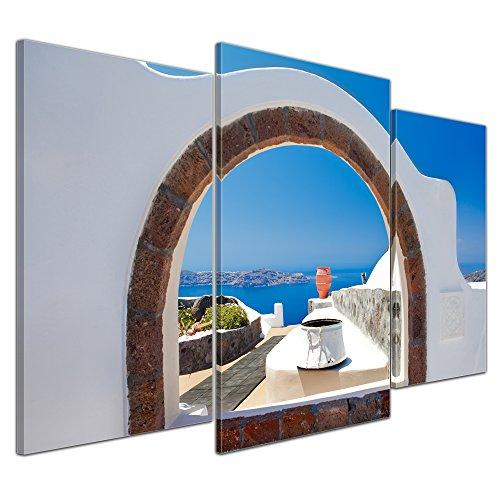"""Bilderdepot24 Cuadros en Lienzo """"Window to paradise - Ventana al paraíso"""""""" - 100x60 cm 3 piezas - Enmarcado listo Bastidor imagen. directamente desde el fabricante"""