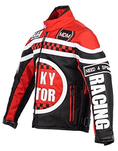 Racing Jacke für Kinder in rot, Motorradjacke, Textil Jacke (M)