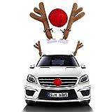 matcc renne de noël pour voiture renne rudolph en peluche cornes de renne et nez rouge décoration