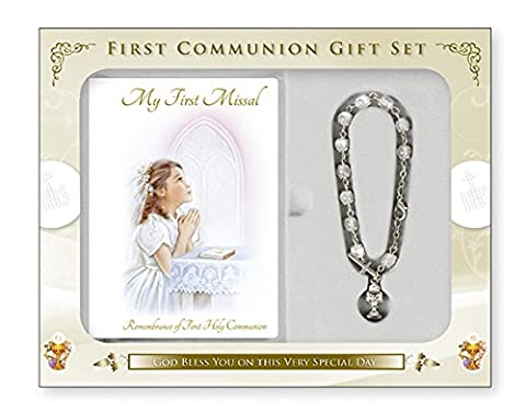 Girls First Holy Communion Gift Set Missal & Chalice Rosary Bracelet with LOURDES PRAYER CARD