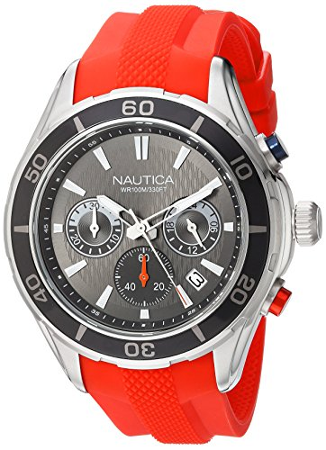 Nautica Men's 'NST 12' Quartz Stainless Steel and Silicone Casual Watch, Color:Orange (Model: NAD15519G)