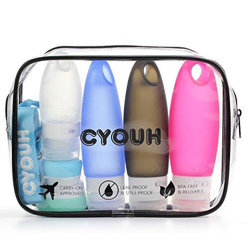 Silikon Reisen Flaschen Set, Flugzeug Kulturtasche Handgepäck Kosmetiktasche Reiseflaschen für Accesoires/Shampoo/Spülung/Cremes,4 in 1 ohne Auslaufen,TSA-Airline genehmige auslaufsichere