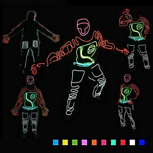 DHTW&R LED Performance-kostüm Glühende Kleidung Fluoreszierender Tanz EL Kaltlicht Nachtshow Beleuchtet Strichmännchen Mann Kostüm Batteriebetrieben Maskerade Party Kostüm,Blue,L
