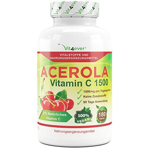 Acerola Vitamin C 1500, 180 Kapseln, 1500mg Acerola Extrakt pro Tagesportion, Hochdosiert mit 27% (405mg) natürliches Vitamin C, Vegan, 100% Acerola Kirsche, Keine Zusatzstoffe, Vit4ever