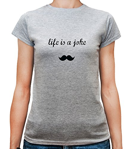 Mesdames T-Shirt avec Life Is a Joke Phrase imprimé. Gris