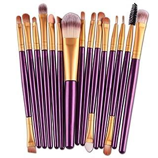 VJGOAL Damen 15 Teile/Sätze Lidschatten Foundation Augenbraue Lippenpinsel Make-Up Pinsel Werkzeug Mehrzweck (Lila, 15 PC)