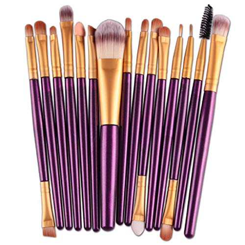 VJGOAL Damen 15 Teile/Sätze Lidschatten Foundation Augenbraue Lippenpinsel Make-Up Pinsel Werkzeug...