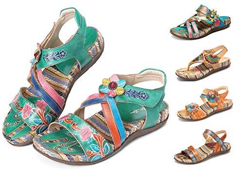 Camfosy Damen Leder Sandalen Vintage Stroh Sandale Flip Flops mit Einlegesohle Geflochtene Komfortable Flache Schuhe Urlaub Freizeit Mules 2019 Sommer Grün 37 EU Damen Mode-mule