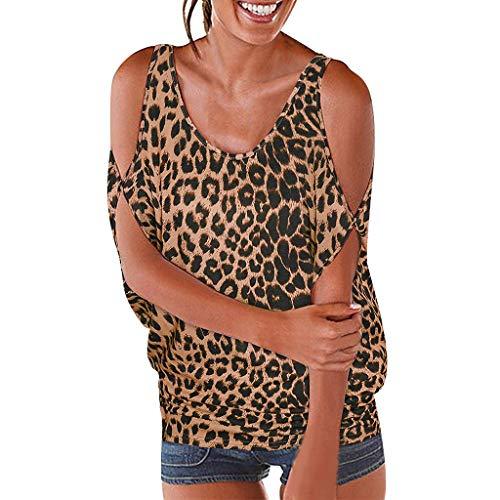 TOPSELD T Shirt Damen, Frauen Short Sleeve Kalte Schulter Leopard Druck Shirts LöSen Pullover Casual Tops (Kinder Spion-anzug Für)