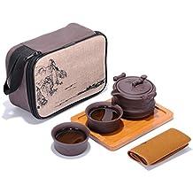 Portátil de viaje KungFu Juego de té Handgemachte China/japonesa Vintage, porcelana de tetera y 4cuencos de & Bamboo–Bandeja de té & bolsa